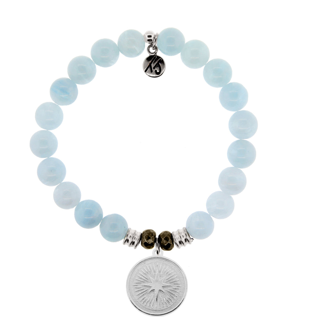 Blue Aquamarine Stone Bracelet with Guidance Sterling Silver Charm