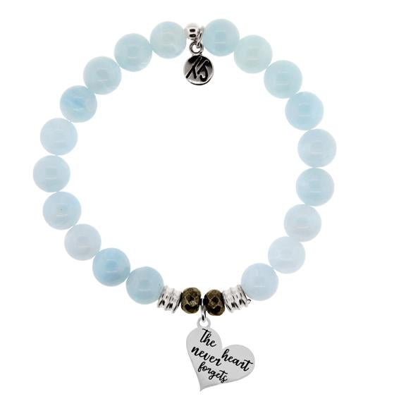 Blue Aquamarine Stone Bracelet with Heart Never Forgets Sterling Silver Charm