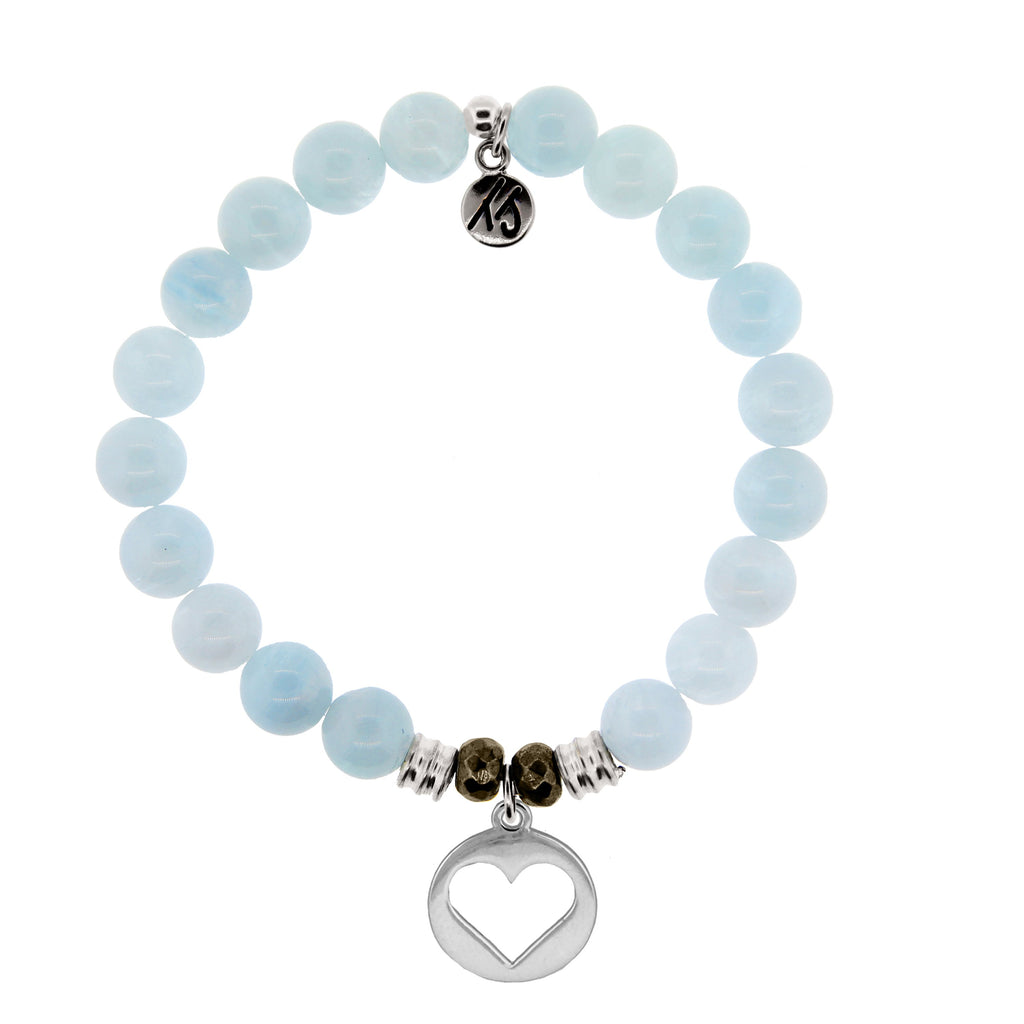 Blue Aquamarine Stone Bracelet with Heart Sterling Silver Charm