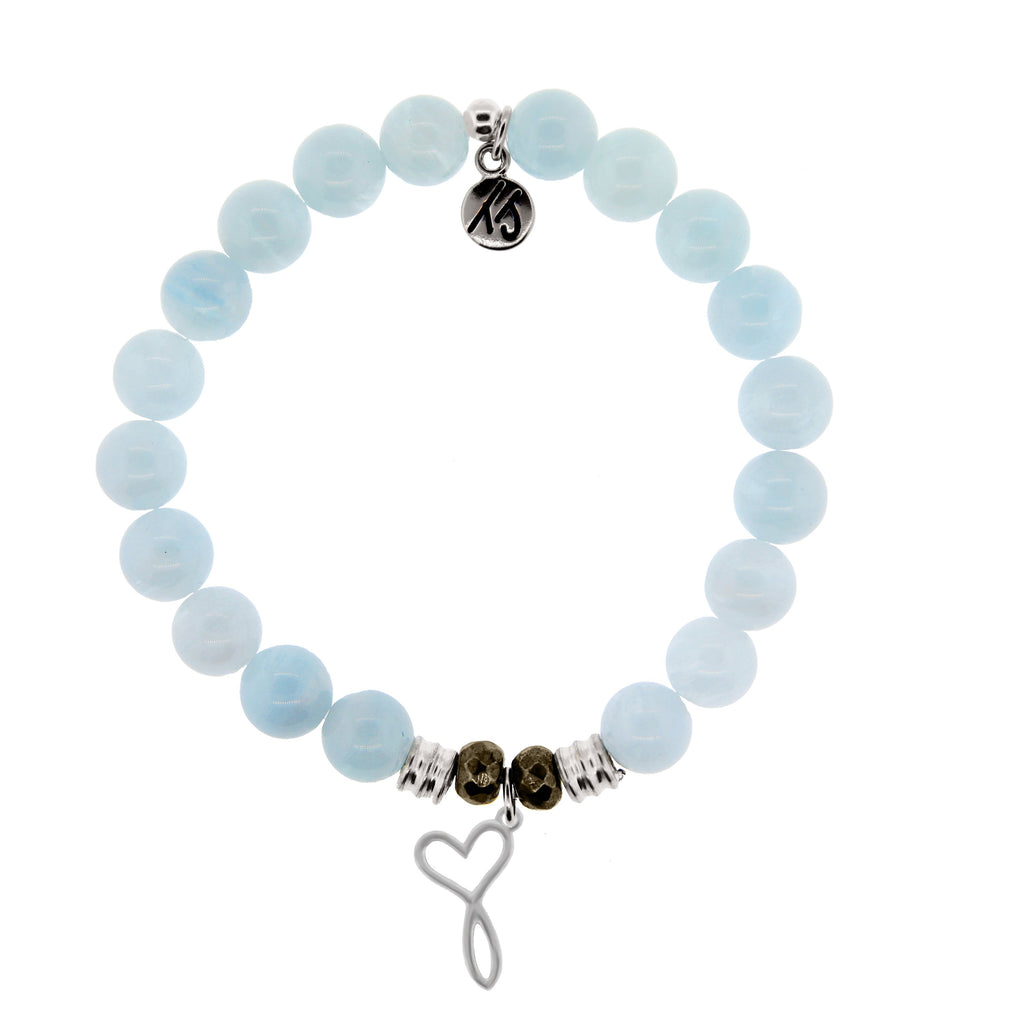 Blue Aquamarine Stone Bracelet with Infinity Heart Sterling Silver Charm