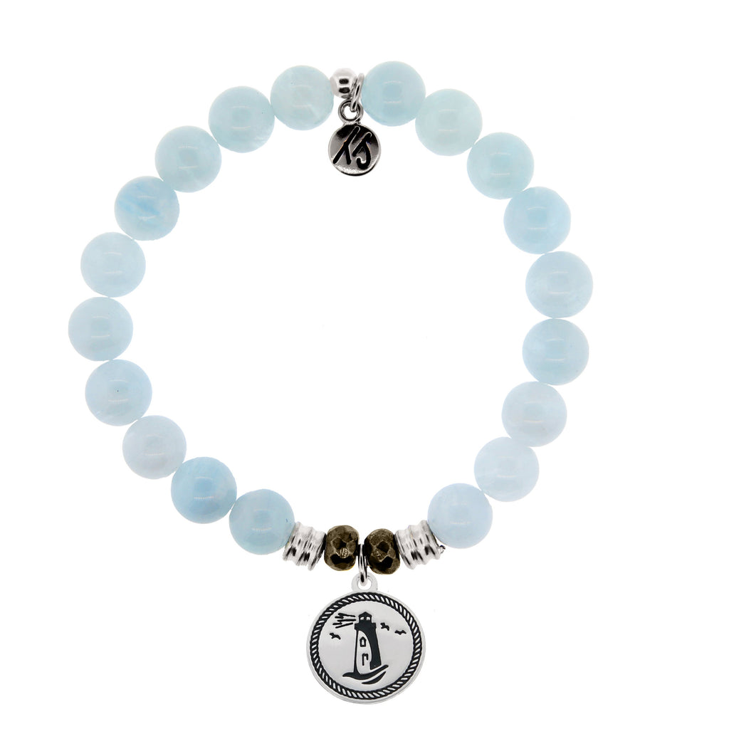 Blue Aquamarine Stone Bracelet with Lighthouse Sterling Silver Charm