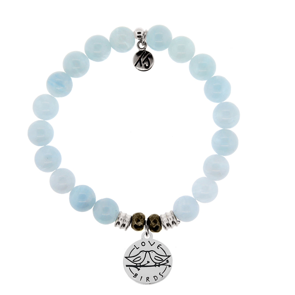 Blue Aquamarine Stone Bracelet with Love Birds Sterling Silver Charm