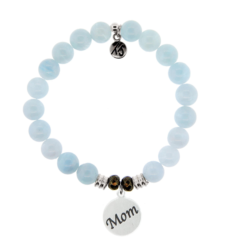 Blue Aquamarine Stone Bracelet with Mom Endless Love Sterling Silver Charm
