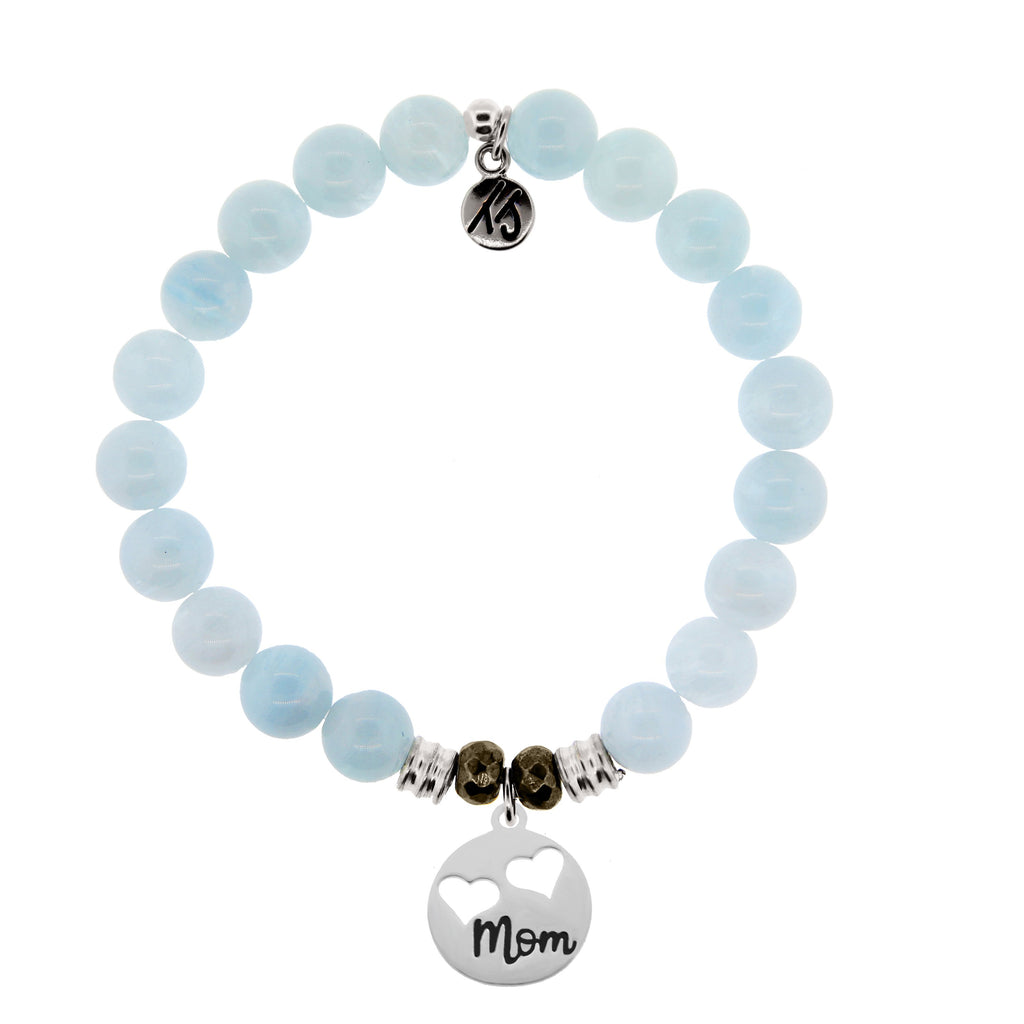 Blue Aquamarine Stone Bracelet with Mom... Sterling Silver Charm