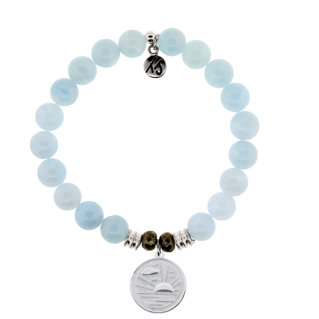 Blue Aquamarine Stone Bracelet with New Day Sterling Silver Charm