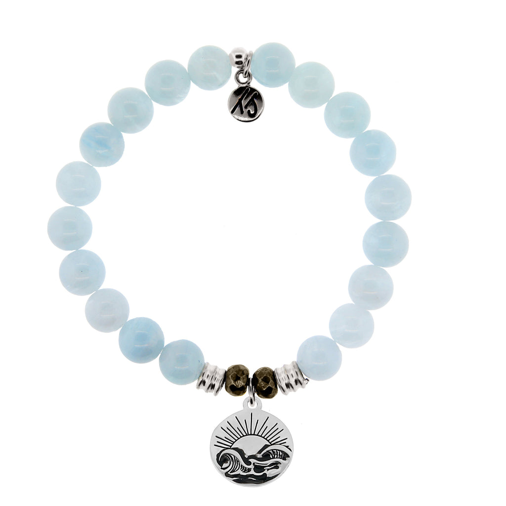 Blue Aquamarine Stone Bracelet with Rising Sun Sterling Silver Charm