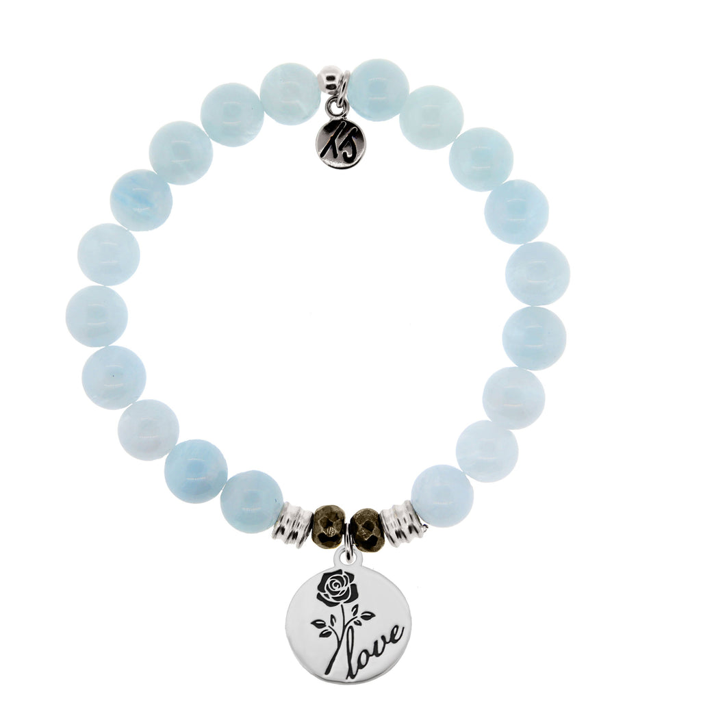 Blue Aquamarine Stone Bracelet with Rose Sterling Silver Charm