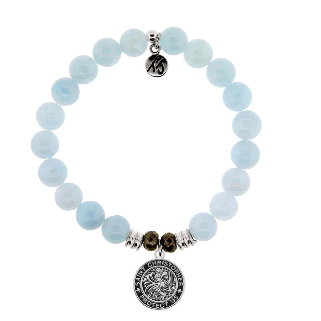 Blue Aquamarine Stone Bracelet with Saint Christopher Sterling Silver Charm