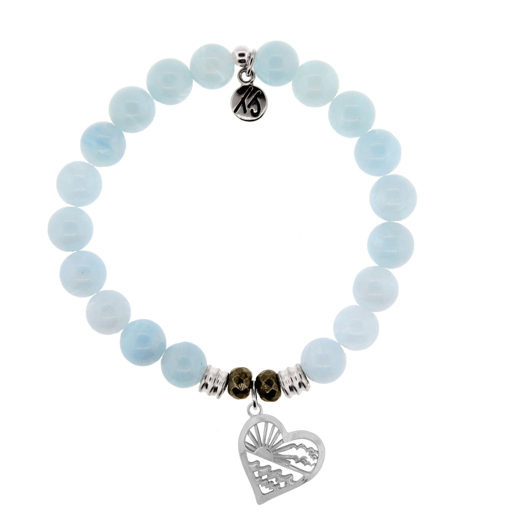 Blue Aquamarine Stone Bracelet with Seas the Day Sterling Silver Charm