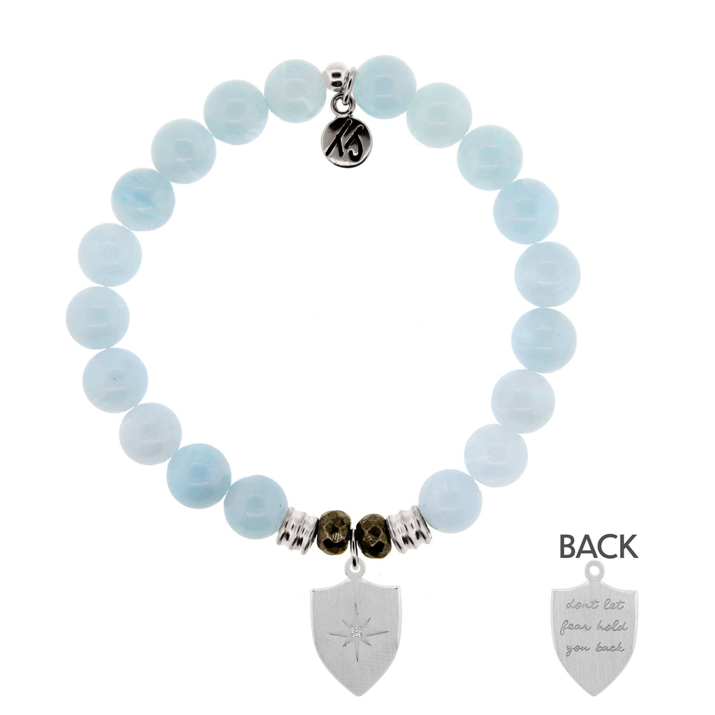 Blue Aquamarine Stone Bracelet with Shield of Strength Sterling Silver Charm