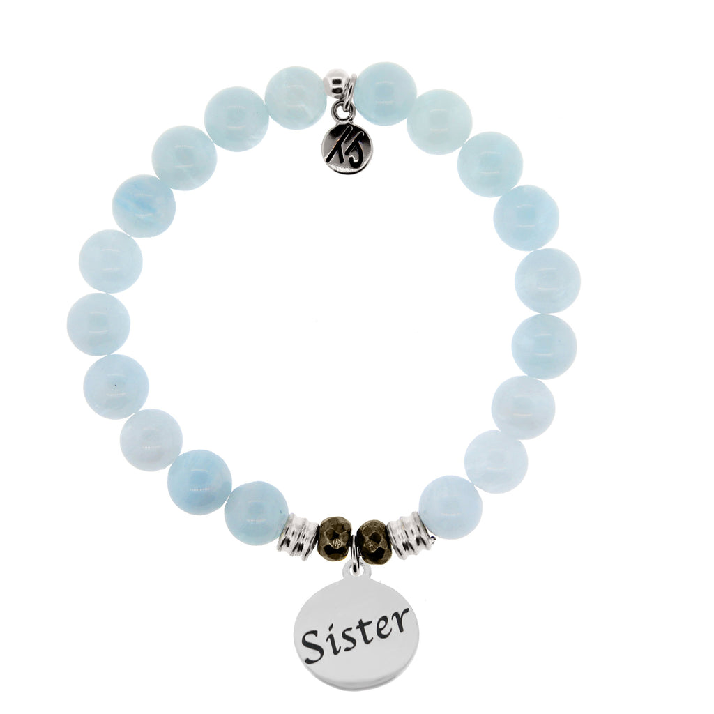 Blue Aquamarine Stone Bracelet with Sister Endless Love Sterling Silver Charm