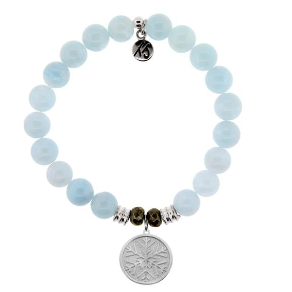 Blue Aquamarine Stone Bracelet with Snowflake Sterling Silver Charm