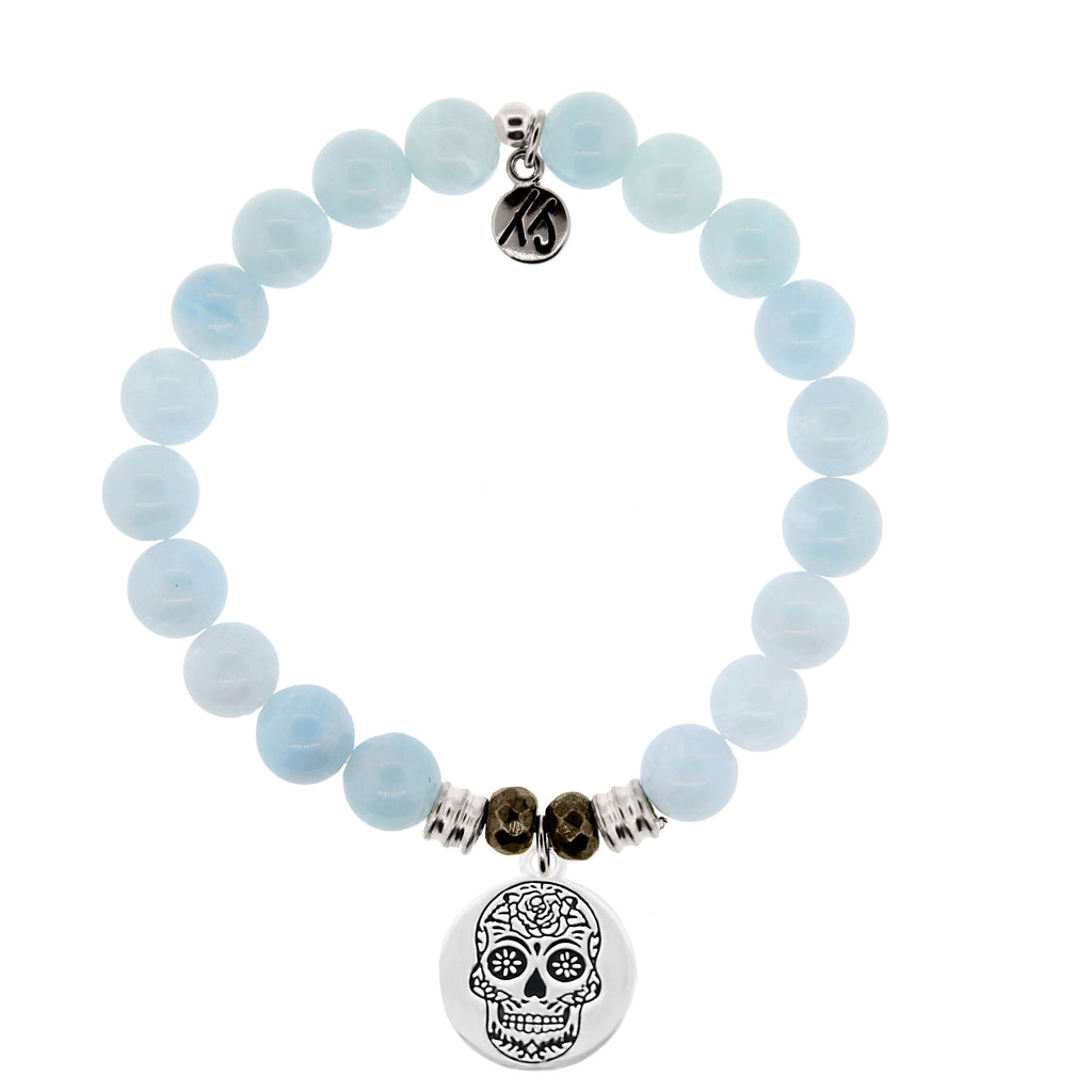 Blue Aquamarine Stone Bracelet with Sugar Skull Sterling Silver Charm
