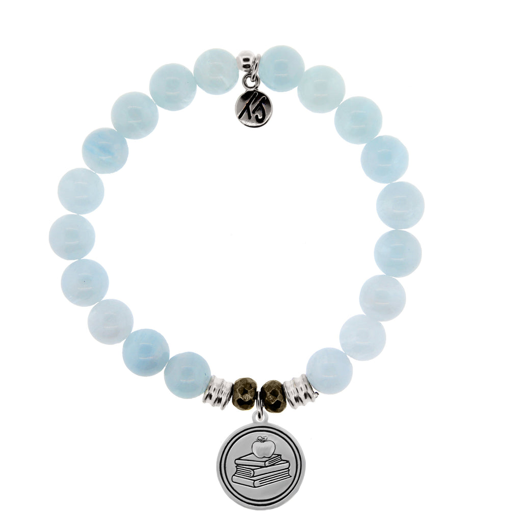 Blue Aquamarine Stone Bracelet with Teacher Sterling Silver Charm