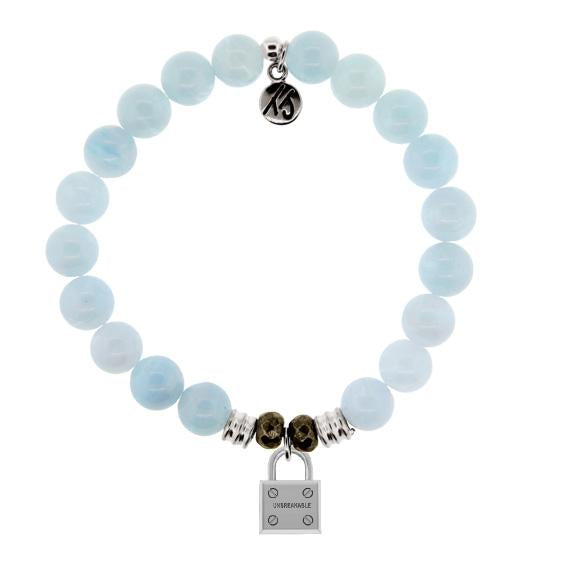 Blue Aquamarine Stone Bracelet with Unbreakable Sterling Silver Charm