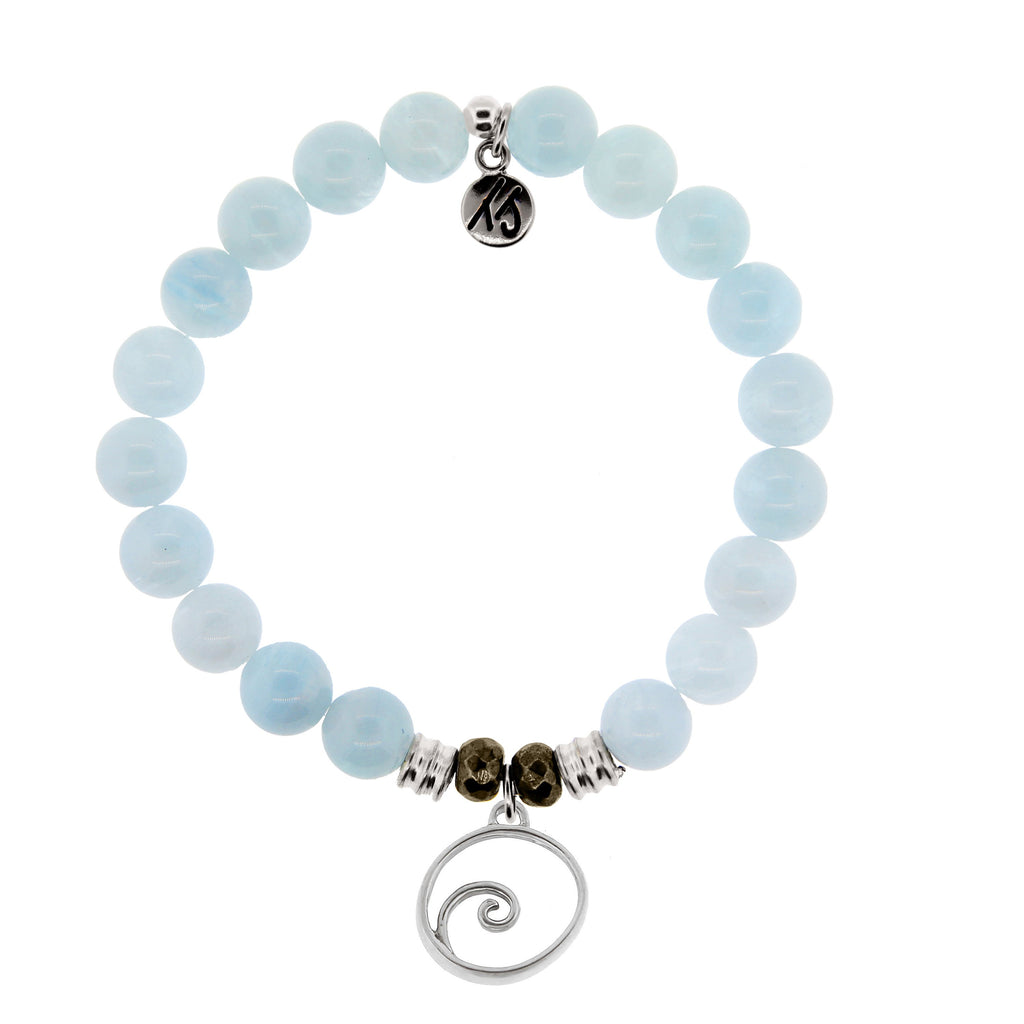 Blue Aquamarine Stone Bracelet with Wave Sterling Silver Charm