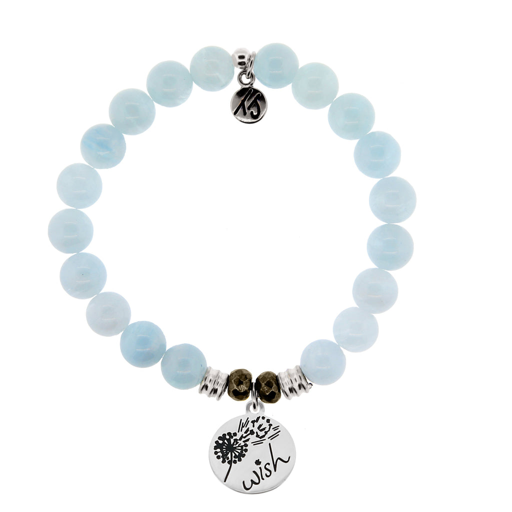 Blue Aquamarine Stone Bracelet with Wish Sterling Silver Charm