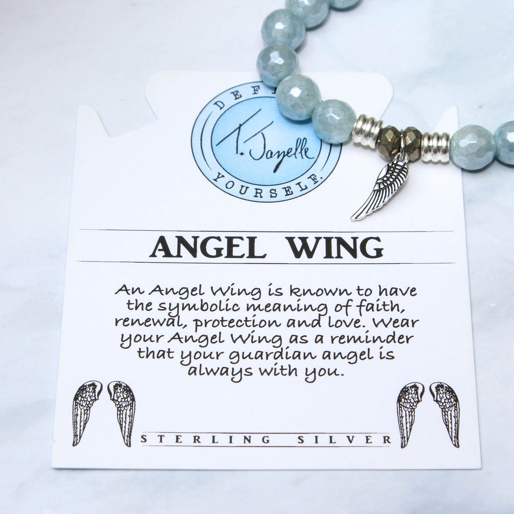 Blue Quartzite Stone Bracelet with Angel Wing Sterling Silver Charm