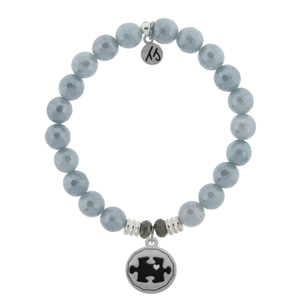 Blue Quartzite Stone Bracelet with Autism Awareness Sterling Silver Charm