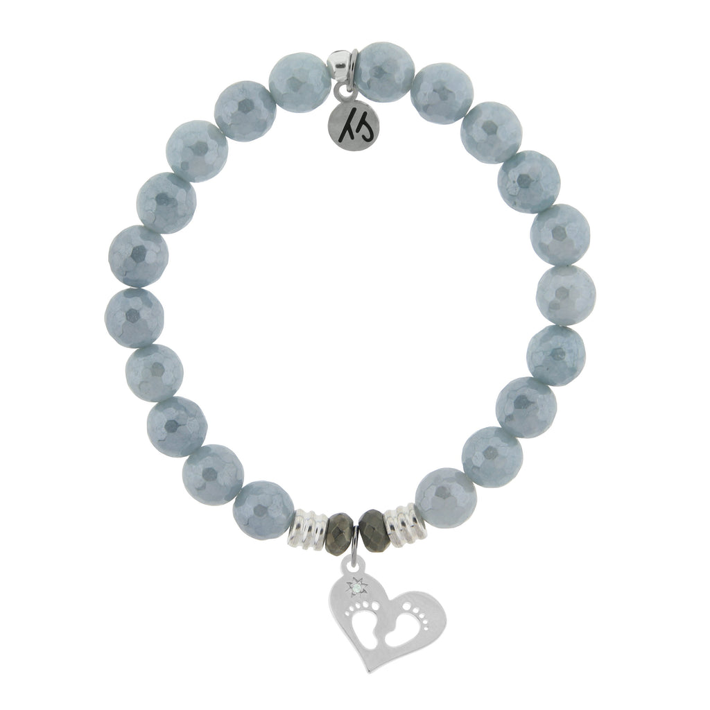 Blue Quartzite Stone Bracelet with Baby Feet Sterling Silver Charm