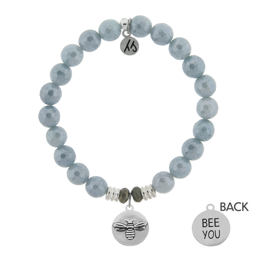 Blue Quartzite Stone Bracelet with Bee You Sterling Silver Charm