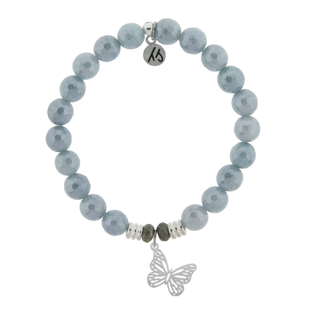 Blue Quartzite Stone Bracelet with Butterfly Sterling Silver Charm