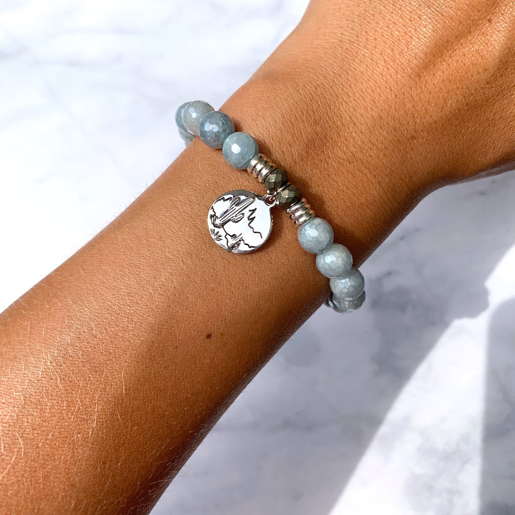 Blue Quartzite Stone Bracelet with Cactus Sterling Silver Charm