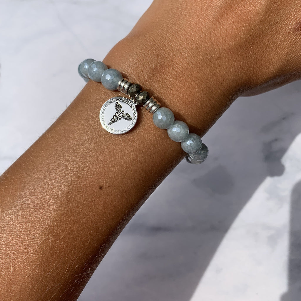Blue Quartzite Stone Bracelet with Caduceus Sterling Silver Charm