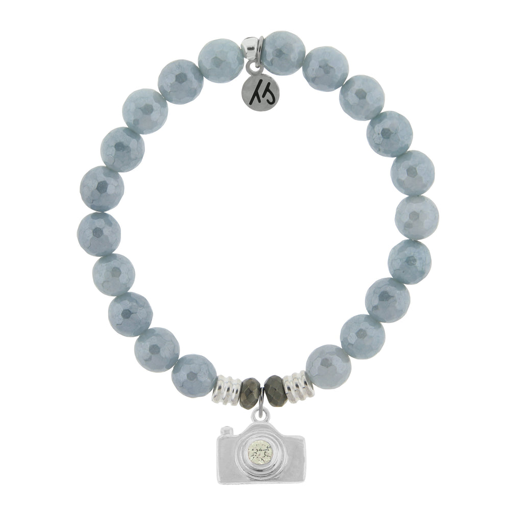 Blue Quartzite Stone Bracelet with Camera Sterling Silver Charm