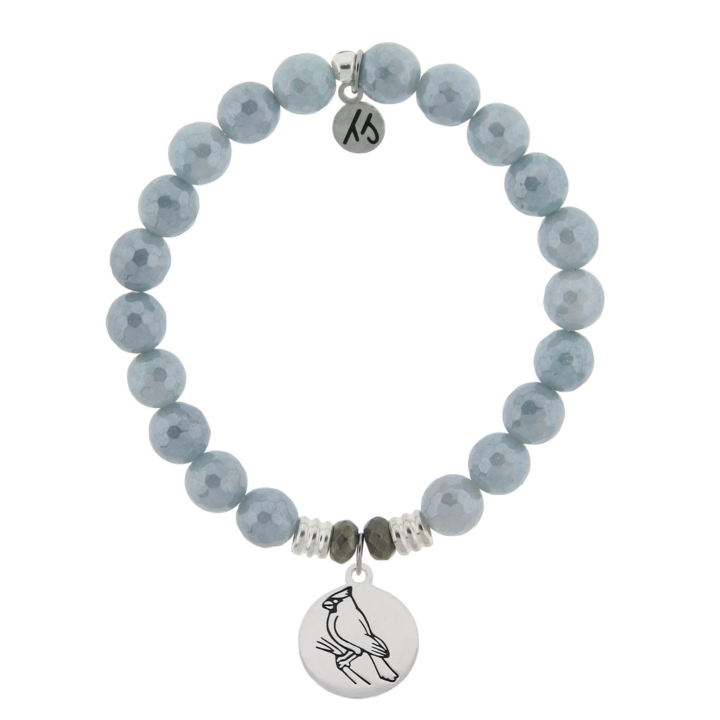 Blue Quartzite Stone Bracelet with Cardinal Sterling Silver Charm
