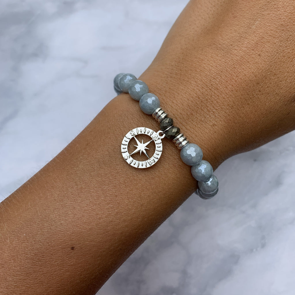 Blue Quartzite Stone Bracelet with Compass Rose Sterling Silver Charm