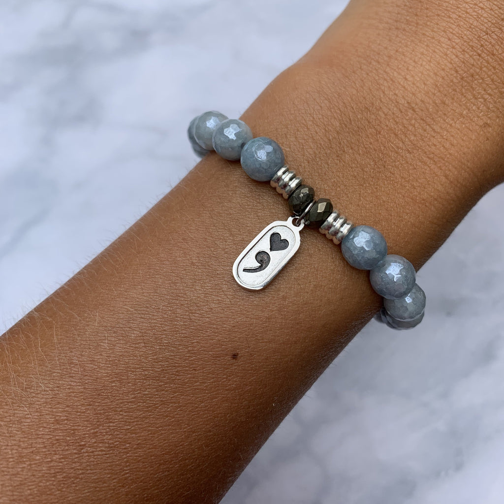 Blue Quartzite Stone Bracelet with Continue Sterling Silver Charm