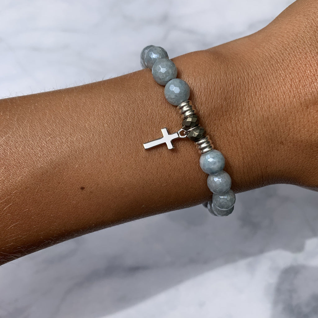 Blue Quartzite Stone Bracelet with Cross Sterling Silver Charm