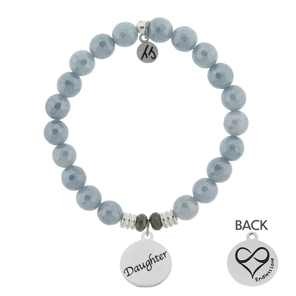 Blue Quartzite Stone Bracelet with Daughter Endless Love Sterling Silver Charm