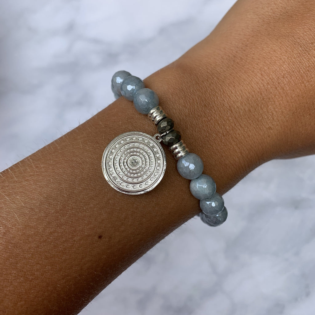 Blue Quartzite Stone Bracelet with Family Circle Sterling Silver Charm