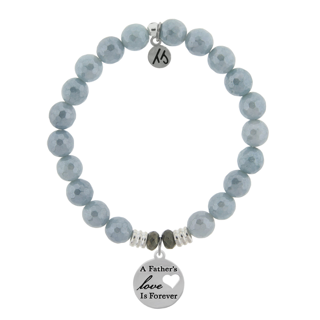 Blue Quartzite Stone Bracelet with Fathers Love Sterling Silver Charm