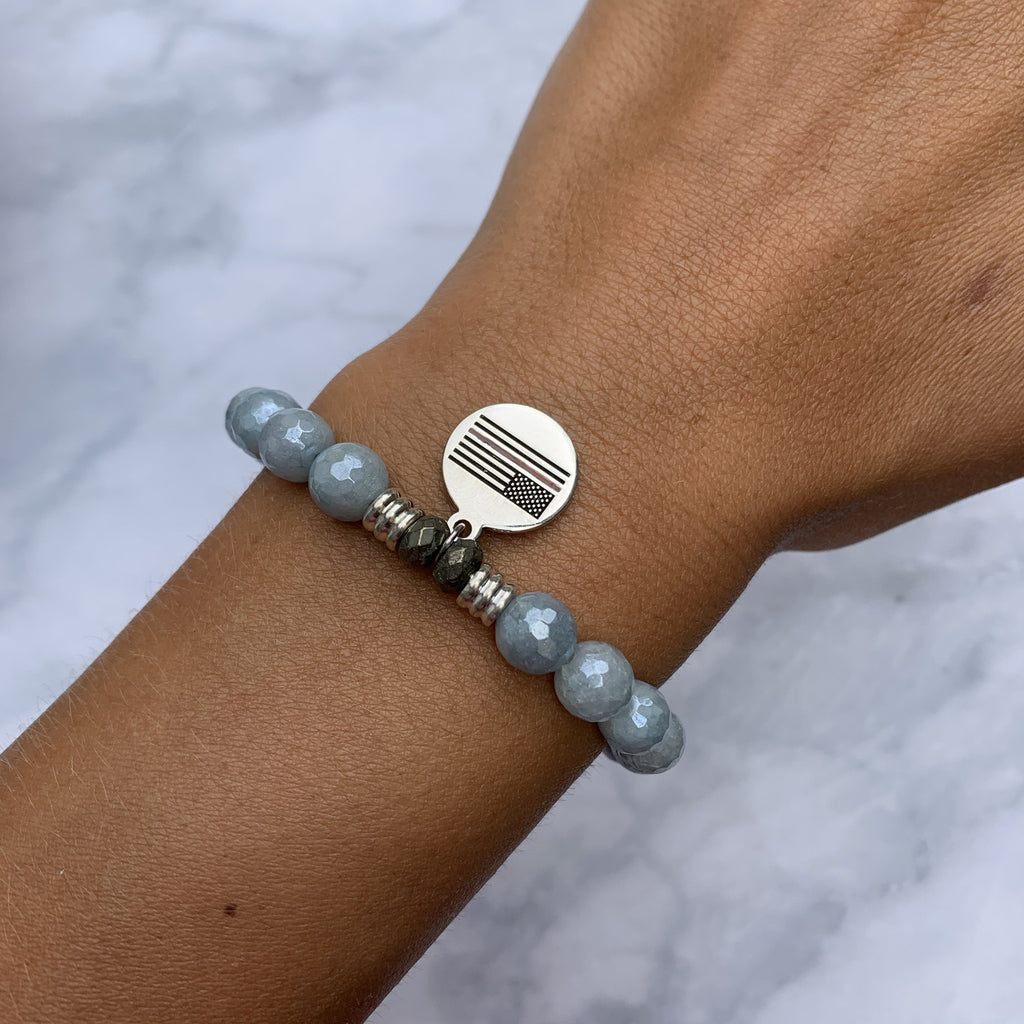 Blue Quartzite Stone Bracelet with Fire and Rescue Sterling Silver Charm
