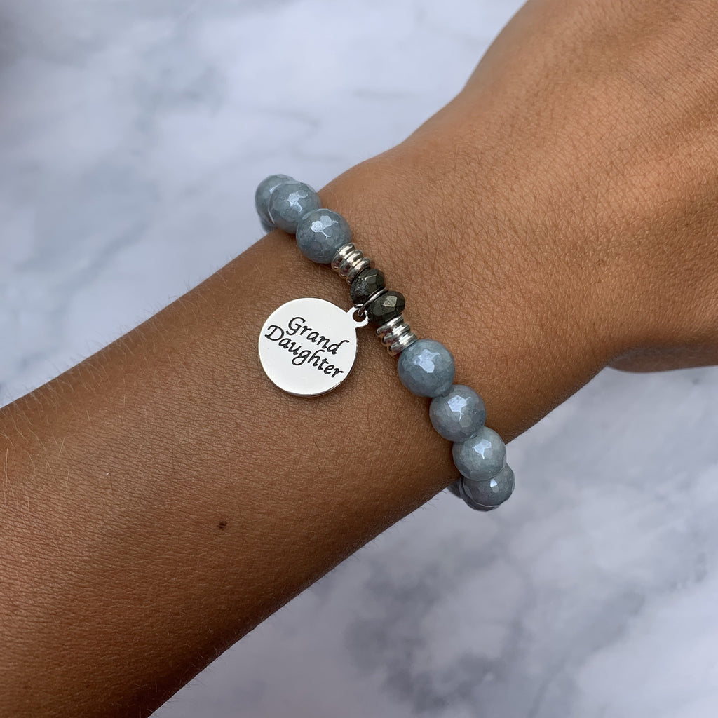 Blue Quartzite Stone Bracelet with Granddaughter Endless Love Sterling Silver Charm