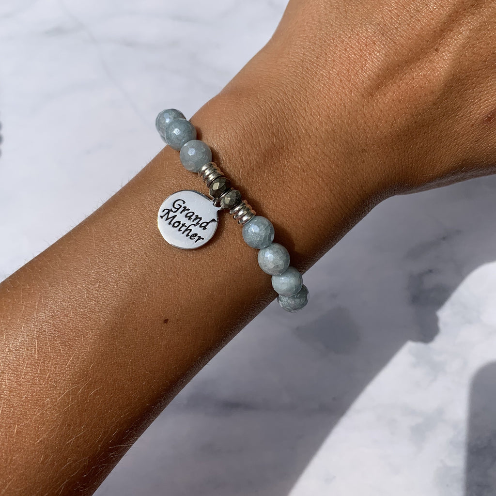 Blue Quartzite Stone Bracelet with Grandmother Endless Love Sterling Silver Charm