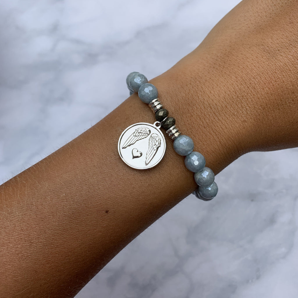 Blue Quartzite Stone Bracelet with Guardian Sterling Silver Charm