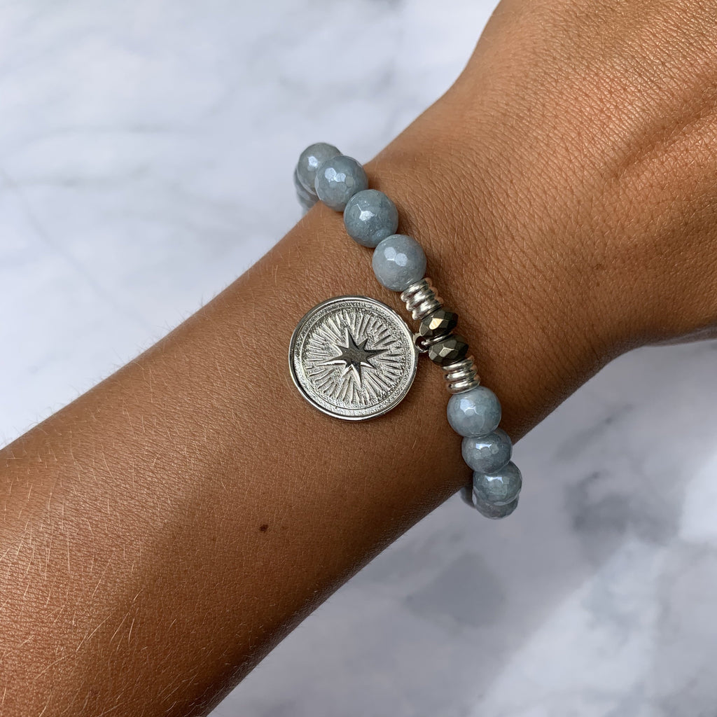 Blue Quartzite Stone Bracelet with Guidance Sterling Silver Charm