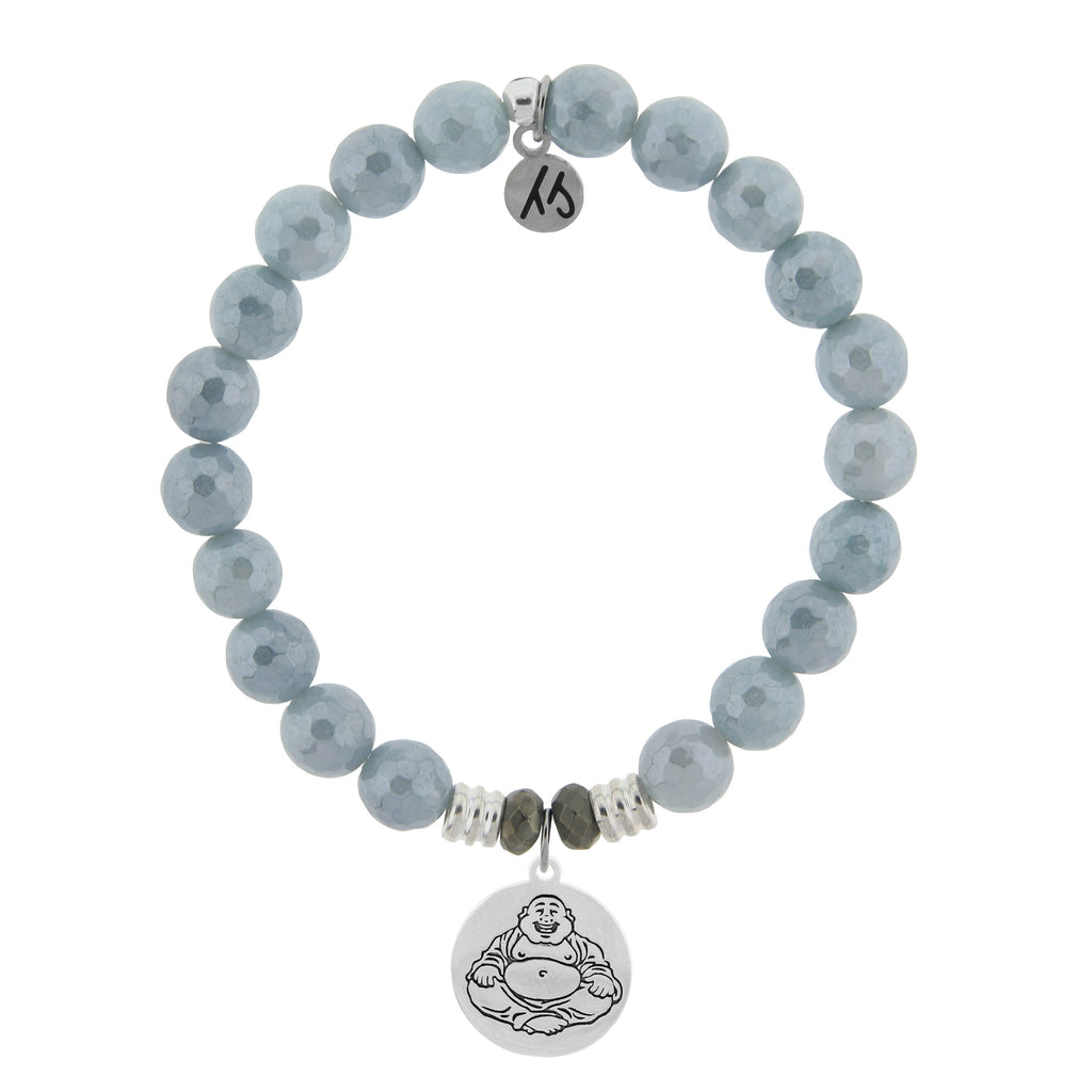 Blue Quartzite Stone Bracelet with Happy Buddha Sterling Silver Charm