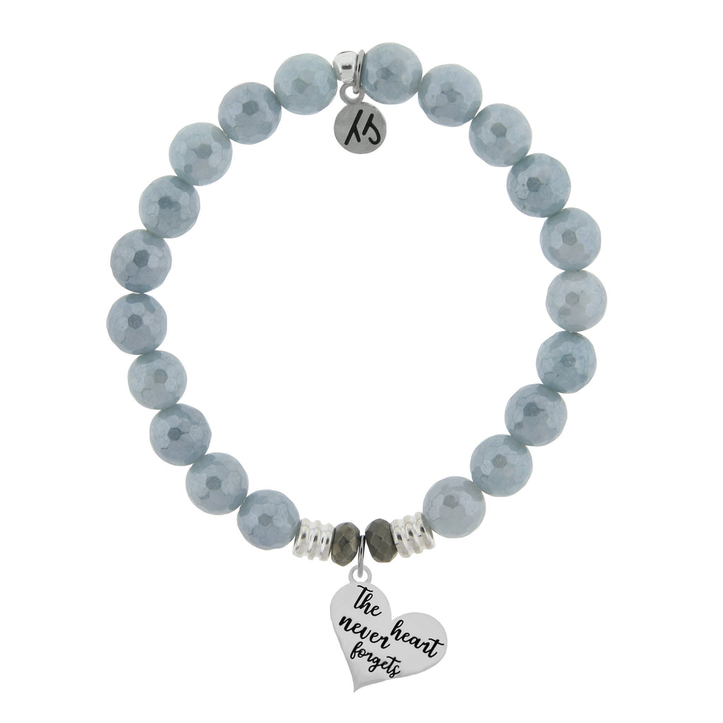 Blue Quartzite Stone Bracelet with Heart Never Forgets Sterling Silver Charm
