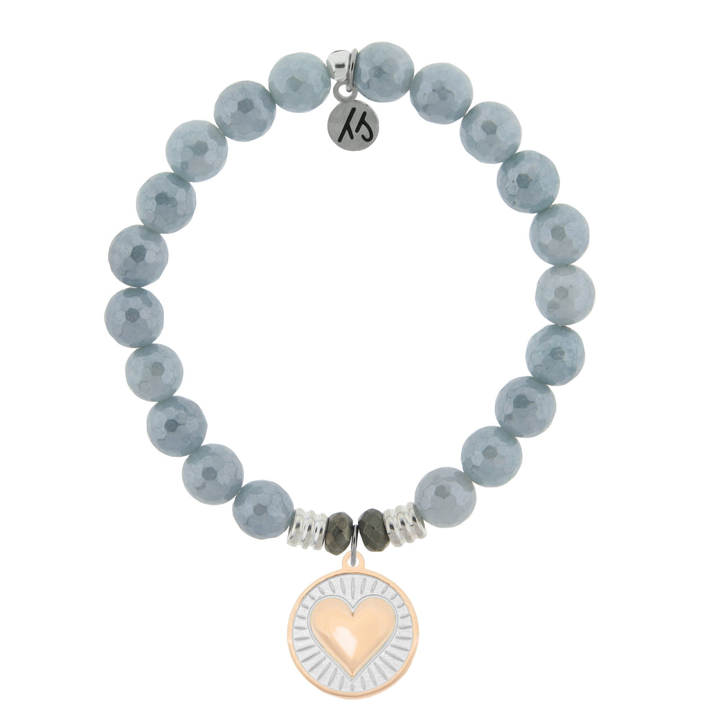 Blue Quartzite Stone Bracelet with Heart of Gold Sterling Silver Charm