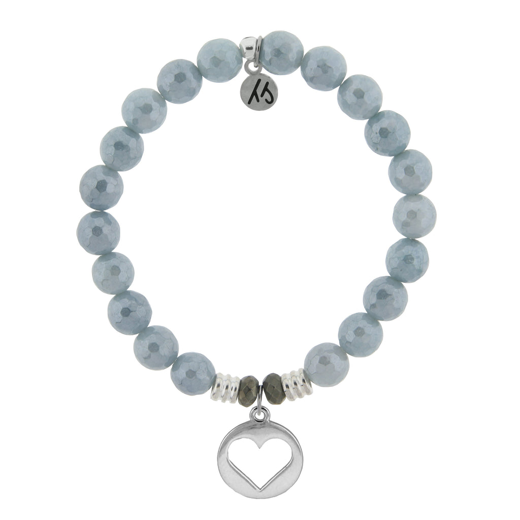 Blue Quartzite Stone Bracelet with Heart Sterling Silver Charm