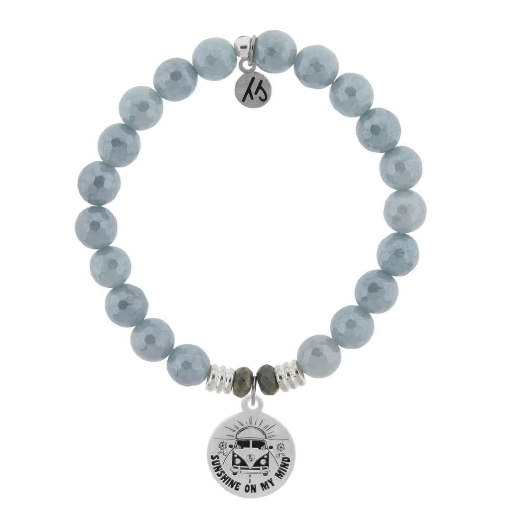 Blue Quartzite Stone Bracelet with Life's a Journey Sterling Silver Charm