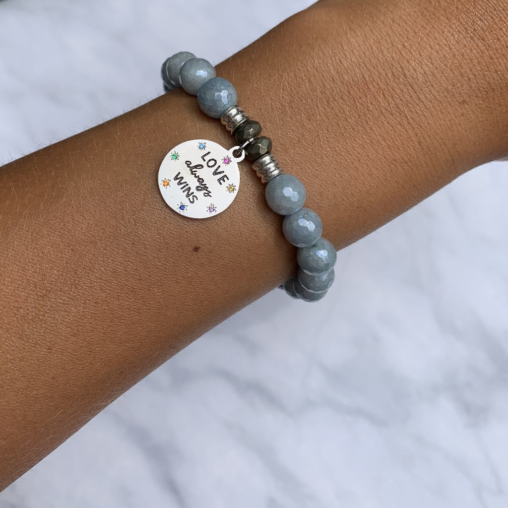 Blue Quartzite Stone Bracelet with Love Always Wins Sterling Silver Charm