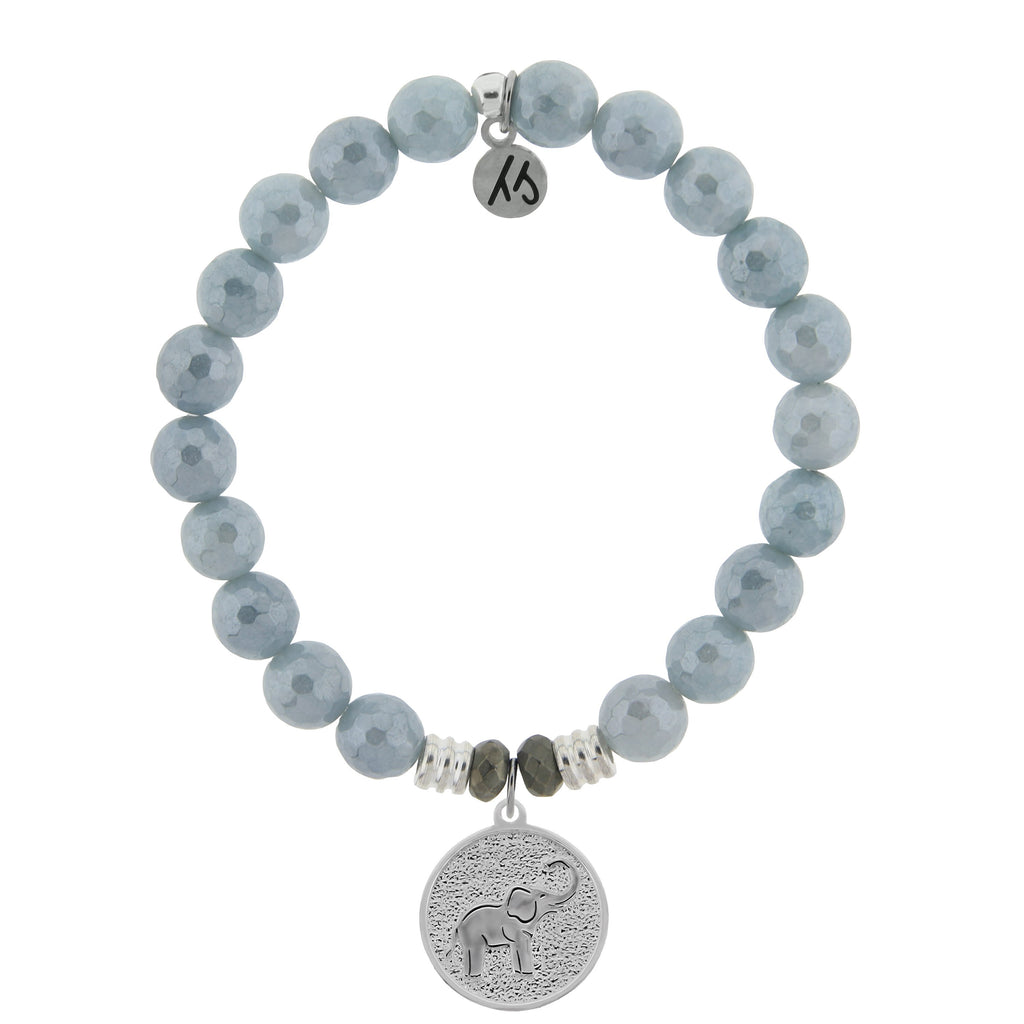 Blue Quartzite Stone Bracelet with Lucky Elephant Sterling Silver Charm