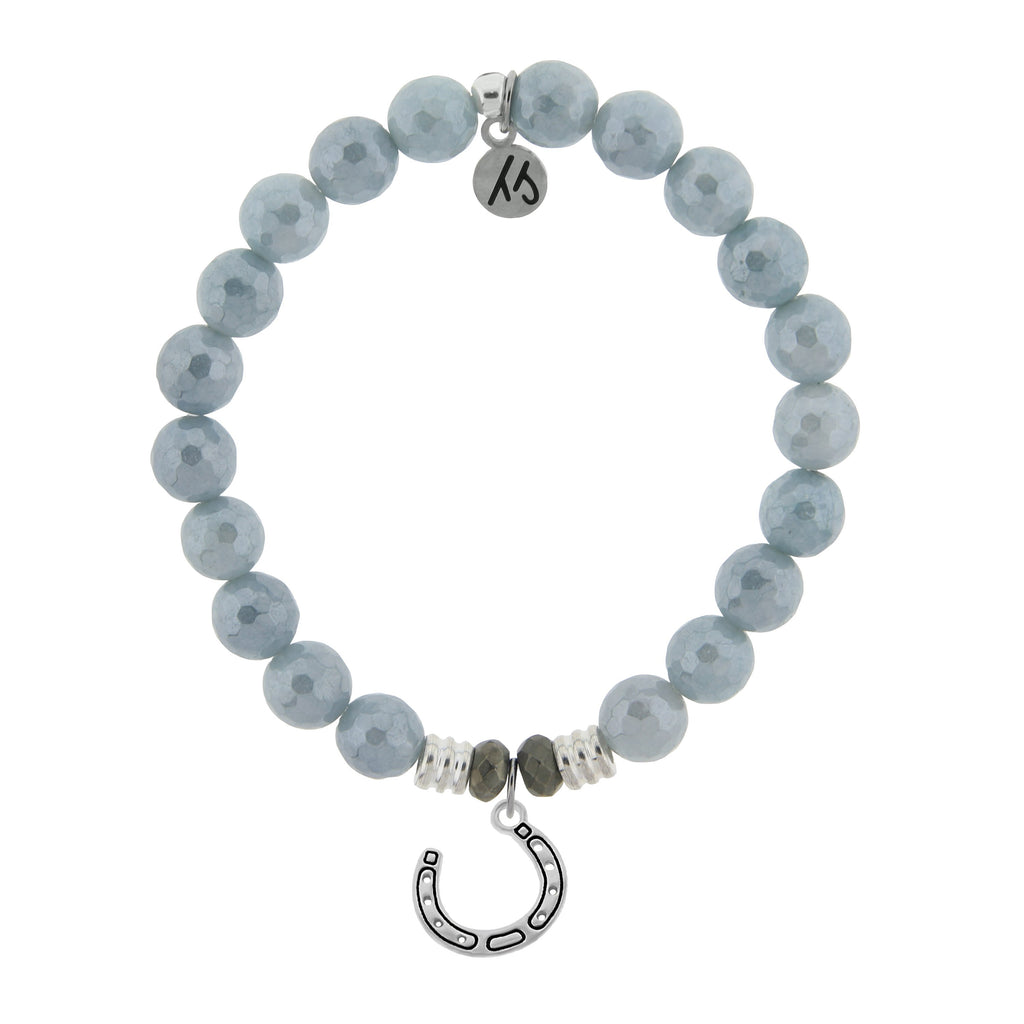 Blue Quartzite Stone Bracelet with Lucky Horseshoe Sterling Silver Charm
