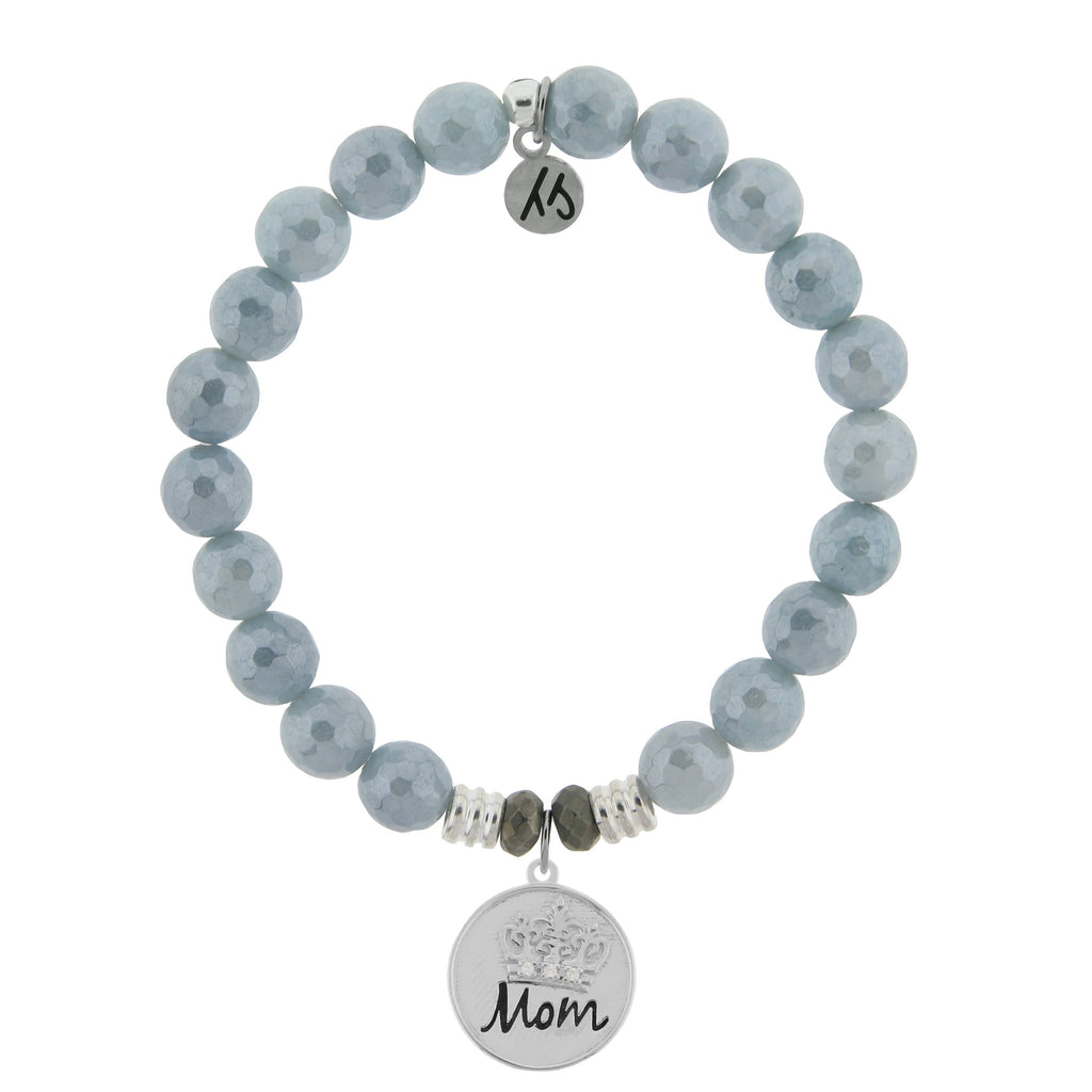 Blue Quartzite Stone Bracelet with Mom Crown Sterling Silver Charm